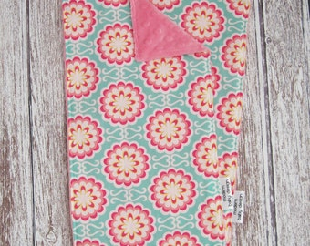Aqua and Pink Baby Burp Cloths, Baby Girl Burp Cloth, Fancy Buttons Candy by Art Gallery Fabrics