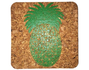 Pineapple-Coastal Cork Coasters-Hostess Gift/Party/Home Decor-Green