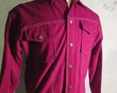 Vintage Retro Snap Up Jacket Kings Road Sears Size M Medium Maroon Red 70s Cotton