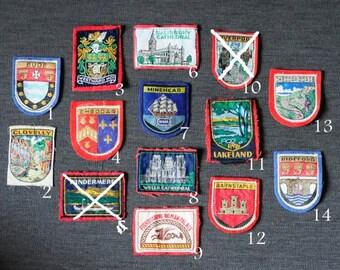 England C -  girl guides/girl scouts vintage travel destination badges, you choose one