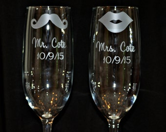 As seen in Wedding Style Magazine  His and Hers Mustache and Lips Champagne Toasting Flutes for Couples Gift by Jackglass on Etsy