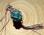 Flourite 41mm Sphere Hemp Corded Net Wrap Beige Khaki Brown Necklace