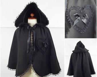 Gothic black  fleece  cape, Victorian, lolita . alternative styles