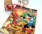 VALENTINES SALE Vintage Mickey's Christmas Carol Book and Dewey Duck Wood Block,1985,1970's,Illustrated,Disney,Mickey Minnie Mouse,Holiday K
