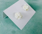 White Rose Earrings - Sparkling Blooms - beach jewelry - SALE - perfect gift - Summer - bridesmaids - weddings - sale