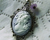Goddess Cameo Necklace, Pantone Lilac Gray Cameo, Neo Victorian, Lilac Goddess, Southern Belle, Jane Austen Emma, Statement Necklace, Purple