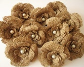 10 Burlap Flowers with pearl centers