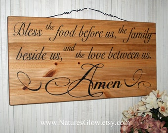 Bless the Food Before Us, Dining Room Decor, Kitchen Sign, Family Prayer, Kitchen Wall Art, Kitchen Prayer, Rustic Sign, Wood Planks, Bless