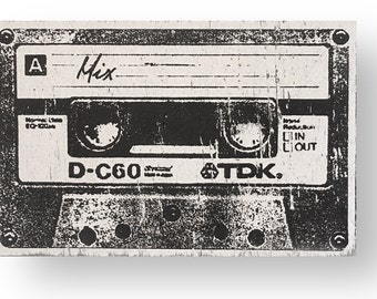 Mix tape circa 1980's - 7 x 11  Rustic Sign