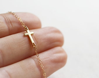 Mini Sideways Cross Necklace | 24kt Gold Vermeil | Sideways Cross Necklace | Gold Necklace