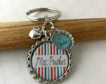 Teacher Keychain Gift, Personalized teacher gift, THANK YOU, Number One Mom, Dad, Babysitter, Teacher Gift Bottle Cap Keychain