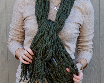 "Fringe Scarf ""Moss"" Thick/Super Bulky @ 68 inches - Hand Wash"