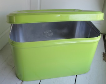 Vintage Bread Box Lime Green Silver