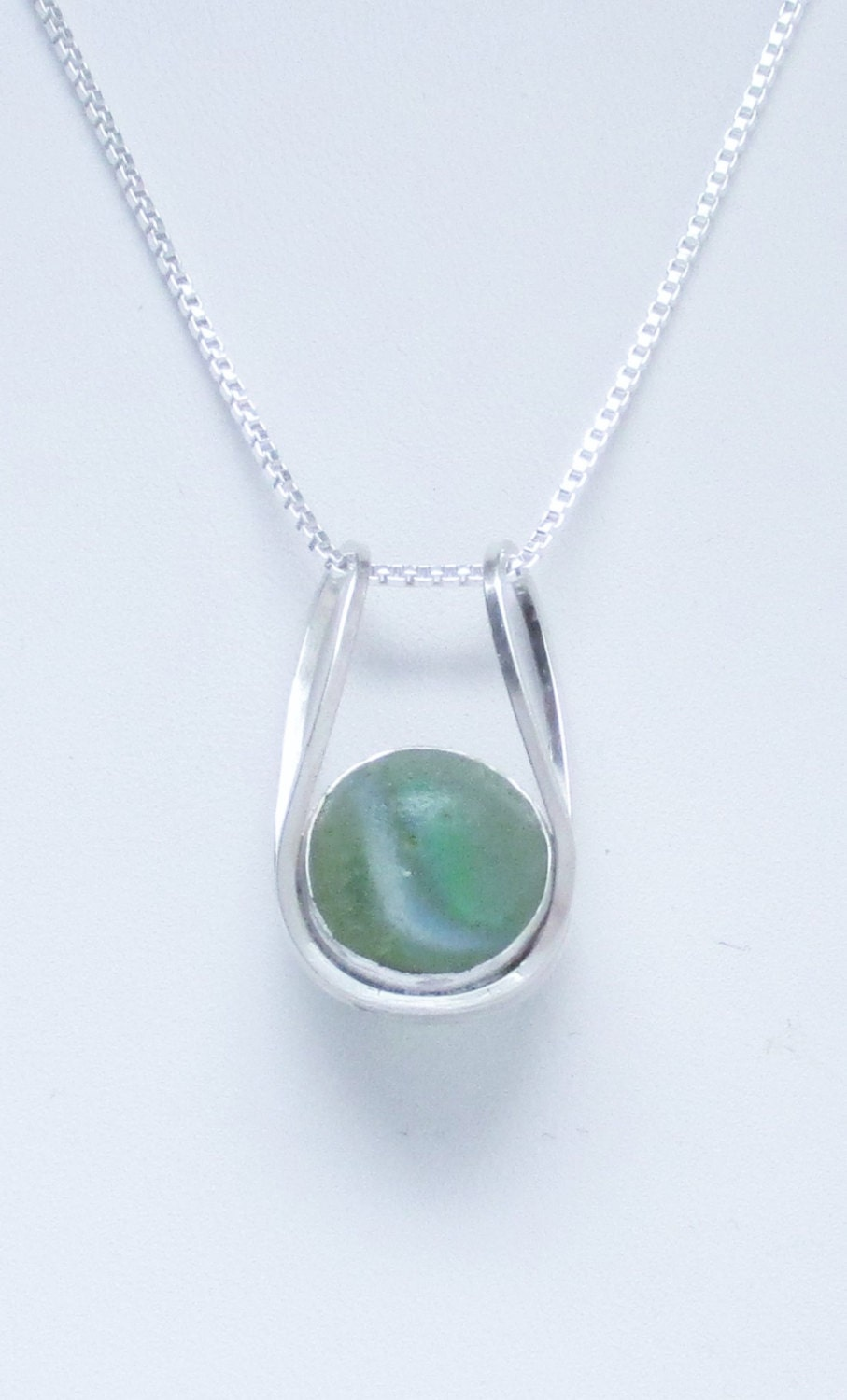 Sea glass jewelry sterling sea glass marble necklace for How to make marble jewelry