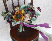 Fall Autumn Loose Wildflower Silk Flower Boho Plum and Gold Wedding Bouquet