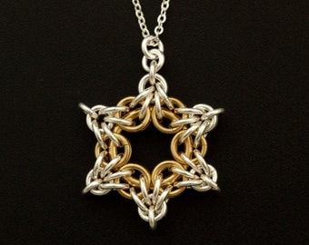 Sterling Silver and 14kt Gold Filled Star Bright Necklace or Pendant Chainmaille Kit