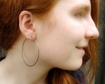 Antique Sterling Silver Earring Hoops - 55mm - Organic Texture