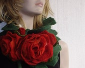 Felted Scarf  Pine Green with Big Carmine red Rose Flowers