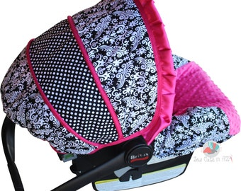 SHIPS TODAY Car Seat Cover Damask with Hot Pink  Infant