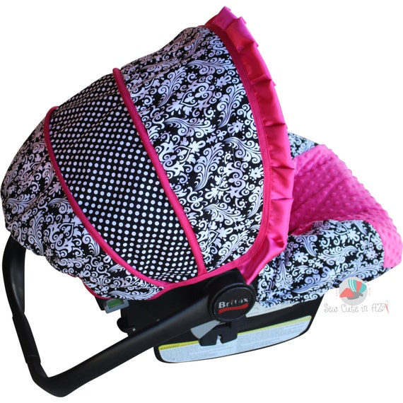 Car Seat Cover Damask with Hot Pink  Infant