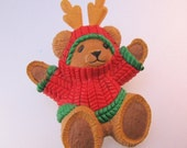 Vintage Hallmark Teddy Bearwith Antlers Christmas Brooch Pin Novelty Jewelry Jewellery