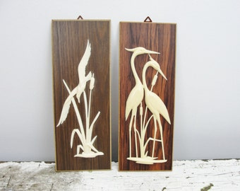 Vintage wall decor cranes and seagull bird pictures West Germany