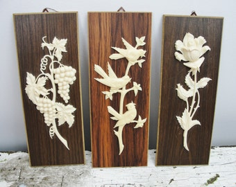Vintage wall decor roses, grapes and birds Western Germany