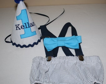 baby boy first birthday outfit, cake smash outfit, gray stripe, teal navy, 1st birthday hat, suspenders, diaper cover, bow tie, birthday hat