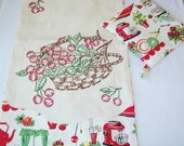 Hand Embroidered Cherries Kitchen Towel, with FREE potholder