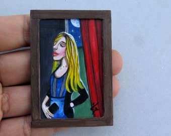 Miniature Original Painting Dollhouse or Collection , Dollhouse Miniature Art, Small Handmade Frame, Handpainted Picture