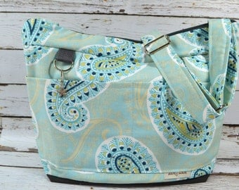 f base / baby bag and purse / made in America by Darby MackDiaper bag in Blue & Charcoal grey Paisley / waterproo
