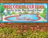 Home Pool Personalized Welcome Sign, Custom Backyard Sign, Swimming Pool Décor, Custom Pool Sign, Family Decor C1202