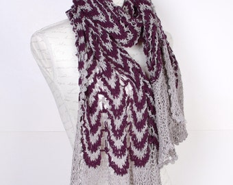 Shawl ,Purple beige ,Perfect for winter, Extra Large