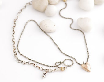 Handmade Bronze Heart Adjustable Necklace