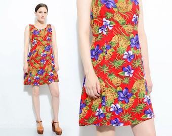 90s Red Hawaiian Sundress Tropical Floral Pineapple Palm Tree Novelty Tank Babydoll Mini Dress Medium Large M L