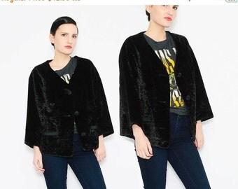 Vintage 50s 60s Black Lamb Faux Fur Coat 1960s Cropped Jacket Minimal Jackie O Retro Boxy Jacket M L