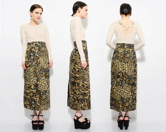 80s Abstract Arsty Print Maxi Skirt High Waist 1980s Fitted Column Skirt Black Metallic Gold Medium M