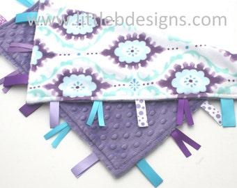 Personalized Lovey Baby Tag Blanket - Jewel Purple Minky with Flourish Minky