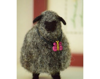 Black Sheep And Butterfly Needle Felt Wool Whimsy