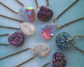 Druzy Stone Necklace - SPECIAL PRICE for a Limited Time - Real stone with colorful finish - Antique Brass Chain - 16-inch Layering Necklace