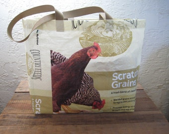 Recycled Upcycled Reusable Chicken Feed Extra Large Tote Bag Purse
