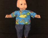 Doll Clothes for Bitty Baby Bitty Twin Girl or Boy or Most Other 15 Inch Dolls Froggy Bog Pond Frog Shirt and Jeans