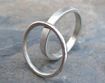 White Gold Hammered Matching Wedding Band Set in Solid 14k - 1.6mm and 3mm Wedding Rings - Choose Polished or Matte, Standard or Palladium