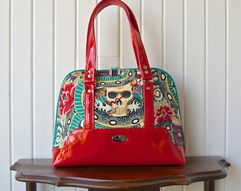 Boronia Bowler Handbag in Alexander Henry Zen Charmer with red sparkle vinyl
