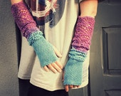 From Sky to Heather - ombre hand dyed crocheted extra long multicolored wrist warmers mittens fingerless gloves hippie boho