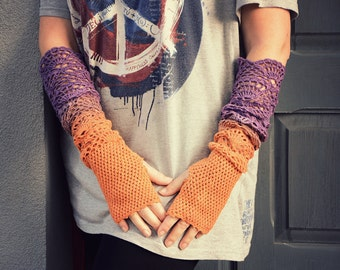 From Orange to Purple - ombre hand dyed crocheted extra long wrist warmers mittens fingerless gloves hippie boho