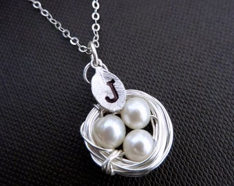 1 Custom Initial and 3 Pearls Eggs Bird Nest Sterling Silver Necklace