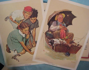 Norman Rockwell Two 5x7 Lithographs, Golden Days, Knuckles Down