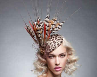 Leopard Fur felt headpiece , Pheasant fascinator , pheasant feathered headpiece.