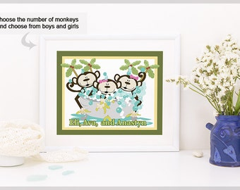 Monkey Bathroom Art, Kids Monkey Bathroom Art Prints or Canvas, Monkeys in a Tub, Girl, Boy, Girls and Boys - Design 3A